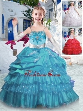 Luxurious Spaghetti Straps Little Girl Pageant Dresses with Ruffled Layers and Appliques PAG278FOR
