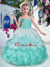 Luxurious Straps Ball Gown Little Girl Pageant Dresses with Ruffled Layers PAG258FOR