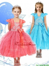 Modest Spaghetti Straps Little Girl Pageant Dress with Beading and Ruffles THLG061FOR
