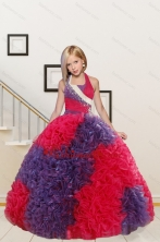 New Arrival Straps Ball Gown Multi Color Flower Girl Dress with Beading and Ruffles XFLG26776FOR