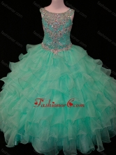 New Arrivals Mint Scoop Little Girl Pageant Dress with Beading and Ruffled Layers SWLG008FOR