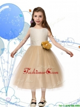 New Scoop Champagne Little Girl Pageant Dress with Hand Made Flowers and Bowknot THLG042-2FOR