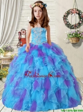 New Style 2016 Summer Appliques Little Girl Pageant Dress with Ruffles in Purple and Blue LGZY471-AFOR