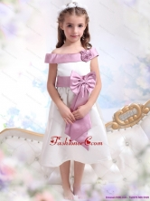 Off The Shoulder White Little Girl Pageant Dress with Flower and Bowknot WMDLG003FOR