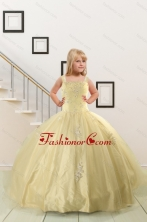 On Sales Appliques Little Girl Dress for 2015 XFLG823FOR