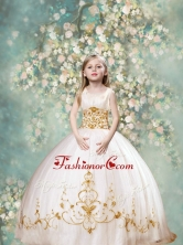 Perfect Ball Gown Scoop Little Girl Pageant Dresses in White and Gold LGZY089FOR