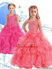 Perfect Beaded and Ruffled Asymmetrical Neckline Little Girl Pageant Dress in Watermelon Red THLG052FOR