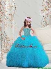 Perfect Beaded and Ruffles Spaghetti Mini Quinceanera Dresses in Turquoise LGDTA5002-3FOR