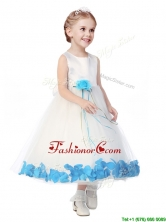 Perfect Scoop Little Girl Pageant Dress with Aqua Blue Hand Made Flowers THLG094-2FOR