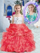 Perfect Spaghetti Straps Little Girl Pageant Dresses with Beading and Ruffles PAG256FOR