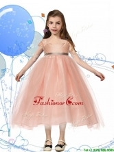 Perfect Square Cap Sleeves Sashes Little Girl Pageant Dress in Peach THLG044-1FOR