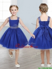 Perfect Straps Royal Blue Little Girl Pageant Dress with Beading and Bowknot THLG033FOR