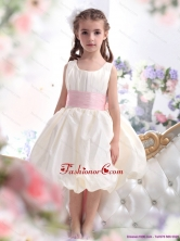 Perfect White Scoop 2015 Little Girl Pageant Dress with Light Pink Sash WMDLG029FOR