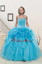 Popular Aqua Blue Little Girl Pageant Dress with Appliques and Pick Ups for 2015 XFLGA37FOR