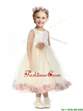 Popular Scoop Tulle Little Girl Pageant Dresses with Hand Made Flowers and Appliques THLG095-2FOR