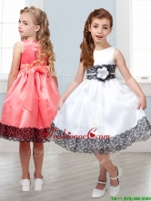 Popular Scoop White Little Girl Pageant Dress with Hand Made Flowers and  Lace THLG019FOR