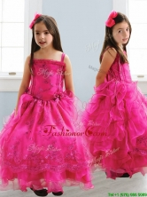 Popular Spaghetti Straps Lace and Ruffled Layers Little Girl Pageant Dress in Hot Pink THLG047FOR