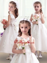 Romantic Scoop Flower Girl Dresses with Appliques and BowknotFGL242FOR