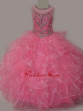 Rose Pink Ball Gown Scoop Beaded Bodice Lace Up Little Girl Pageant Dress SWLG009-2FOR