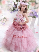Rose Pink Little Girl Pageant Dress with Hand Made Flowers and Ruffled Layers WMDLG037FOR