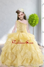 Ruffles and Beading 2015 Popular Little Girl Pageant Dress with One Shoulder XFLG5859FOR