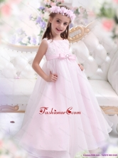 Scoop Appliques and Bownot Pageant Dresses for Girl in Rose Pink WMDLG020FOR