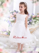 Scoop Tea Length White 2015 Little Girl Pageant Dress with Sash WMDLG030FOR