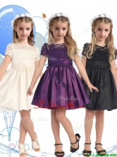 See Through Scoop Short Sleeves Little Girl Pageant Dress with Lace and Belt THLG088FOR