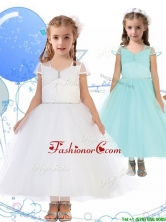 See Through Square Cap Sleeves Little Girl Pageant Dress with Beading THLG058FOR