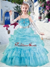 Simple Spaghetti Straps Little Girl Pageant Dresses with Appliques and Bubles PAG282FOR
