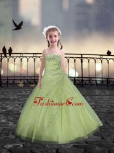 Spaghetti Straps Beaded Little Girl Pageant Dresses in Yellow Green XFLG081-5FOR