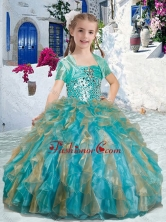 Sweet Spaghetti Straps Little Girl Pageant Dresses with Beading and Ruffles PAG285FOR
