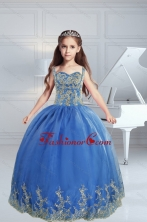 The Most Popular Straps Appliques 2015 Royal Blue Little Girl Pageant Dress XFLG5690FOR
