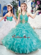 Top Selling Halter Top Little Girl Pageant Dresses with Beading and Ruffles PAG294FOR