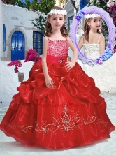 Top Selling Spaghetti Straps Little Girl Pageant Dresses with Beading and Bubles PAG272FOR