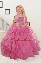 Trendy Pink Little Girl Dress with Beading and Ruffles for 2015 Spring XFLGA06FOR