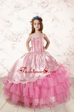 Unique Appliques and Ruffled Layers Little Girl Dress XFLG417FOR