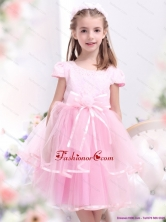 Unique Bownot and Appliques 2015 Little Girl Pageant Dresses in Rose Pink WMDLG032FOR