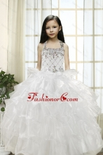 White Ball Gown Halter 2015 Little Girl Pageant Dress with Beading and Ruffles XFLG5908FOR