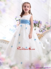 White Scoop Little Girl Pageant Dress with Baby Blue Waistband and Appliques WMDLG019FOR
