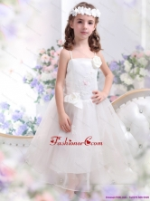 White Spaghetti Straps Little Girl Pageant Dress with Hand Made Flower and Appliques WMDLG004FOR