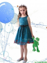 Wonderful Laced and Sashed Scoop Little Girl Pageant Dress in Teal THLG096-3FOR