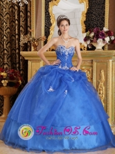 2013 Banda del Rio Sali Argentina Elegant Blue Quinceanera Dress With sexy Sweetheart Neckline Style QDZY351FOR