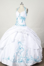Affordable Ball Gown Halter Top Floor-length White Taffeta Embroidery Quinceanera dress Style FA-L-070