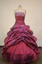Affordable Ball Gown Strapless Floor-length Burgundy Appliques Quinceanera dress Style FA-L-251