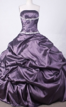 Affordable Ball Gown Strapless Floor-length Dark Purple Taffeta Beading Quinceanera dress Style FA-L-024