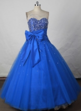 Affordable Ball Gown Sweetheart Floor-length Blue Taffeta Beading Quinceanera dress Style FA-L-210