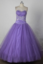 Affordable Ball Gown Sweetheart Floor-length Lilac Taffeta Beading Quinceanera dress Style FA-L-213