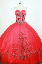 Affordable Ball Gown Sweetheart Floor-length Red Appliques Quinceanera dress Style FA-L-229
