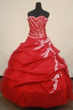 Affordable Ball Gown Sweetheart Floor-length Red Taffeta Appliques Quinceanera dress Style FA-L-252